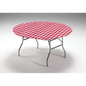 Club Pack of 12 Red and White Gingham Disposable Round Plastic Banquet Party Table Covers 150cm