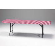 Club Pack of 12 Red and White Gingham Disposable Rectangle Plastic Banquet Party Table Covers 240cm