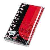 Table Set Rectangular Table Cover, Heavyweight Plastic, 54 x 108, Red, 6/Pack, Sold as 1 Package, 6 Each per Package