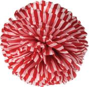 Red Striped 38cm Tissue Paper Flower Pom-Pom