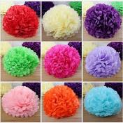 Saitec ® 18PCS Assorted Colours & Sizes Tissue Paper Flower Pom Poms Pompoms Wedding Birthday Party Nursery Decoration