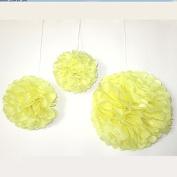 Saitec ® 12PCS Mixed Sizes Yellow Tissue Pom Poms Paper Flower Pompoms Wedding Birthday Party Home Decoration