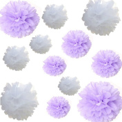 Saitec ® 12pcs Mixed 3 Sizes White Lavander Tissue Paper Pom Poms Flower Wedding Party Baby Girl Room Nursery Decoration