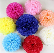 Krismile® New Coming 12PCS Mixed Sizes Peach Ivory Tissue Paper Flower Pom Poms Pompoms paper ball Wedding Birthday Party Nursery Decoration