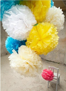 Krismile® 12PCS Mixed Sizes White Ivory Tissue Paper Flower Pom Poms Pompoms Wedding Birthday Party Home Decoration,Wedding Decorative Props Supplies Tissue Paper Pom Poms Wedding Party Festival Decoration