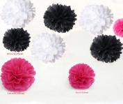 Kubert® Pom Poms - 18 pcs Tissue Paper Flowers, White & Hot Pink & Black ,3 Sizes,Tissue Paper Pom Poms,Best Mother's Day decoration,Wedding Decor,Party Decor,Pom Pom Flowers,Tissue Paper Pink,Tissue Paper Flowers Kit,Pom Poms Craft,Wedding Pom Poms,F ..