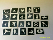 10 x sport stencils for etching on glass (mixed) gift present glassware hobby craft baseball basketball