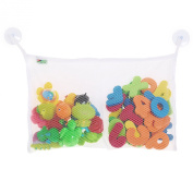 TWO POCKET BATH TOY organiser - Best bath toy bag has two compartments - largest bag to hold more toys - high quality, mould resistant, washable - super strong hold + 2 bonus suction cups
