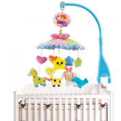 ToyJoy S810 Baby Boy & Girl Bedding Crib Musical Mobile with Hanging Rotating Soft Colourful Plush Dolls Giraffe Dolphin Horse Rabbit Adorable Characters Electric Music Box 20 melodies