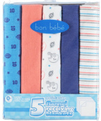 """Bon Bebe """"Most Valuable Baby"""" 5-Pack Flannel Receiving Blankets - blue, one size"""