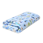 Kangkang@ Baby Urine Pad Insulation Waterproof Breathable Wash Bamboo Fibre Urine Pad Double Sided Available Blue Car Waterproof Bed Cover Infant Crib Sheet Newborn Keep Me Dry Pad 70*80 CM