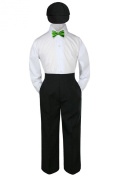 Leadertux 4pc Formal Baby Toddler Boys Lime Green Bow Tie Black Pants Hat S-4T