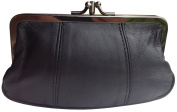 Visnow® 100% Genuine Leather Double-Pocket Change Purse with Clasp