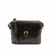 Tuscany Leather - Jody - Leather shoulder bag with flap Dark Brown - TL141278/5