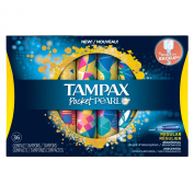 Tampax Pocket Pearl Compact Plastic Regular Absorbency Unscented Tampons, 36 Count
