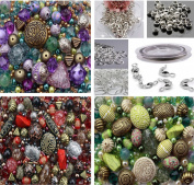Approx X 1500 Jewellery Making Beads Mix Starter Kit for Beginners in Purple, Red & Green & Jewellery Findings