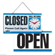 "wennow ""Double-Sided Open/Closed/Will Return Sign with Clock Hands, 15cm x 29cm """