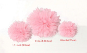 Kubert® 12PCS Mixed 20cm 25cm 36cm Sizes Pink Tissue Paper Flower Pom Poms Wedding Pompoms Garland Birthday Party Baby Room Nursery Decoration - Pom Poms Ball Blooms Tissue Paper Flowers - Celebration Party Hotel House Room Wedding Decoration - Vint ..