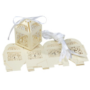 Pack of 10 Love Birds Paper-cut Wedding Party Candy Sugar Gift Boxes