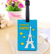 Cute Travel Luggage Tag Suitcase Baggage Bag Name Address ID Tag Holder Tower Blue