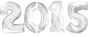 Huge 2015 Number Balloons - Silver 2015 Megaloons - Each Number 90cm Tall