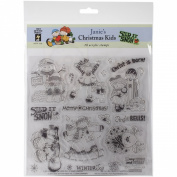 Hot Off The Press Acrylic Stamps, 20cm by 20cm , Janie's Christmas Kids