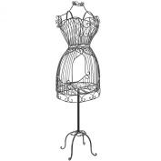 Vintage Designers Black Metal Scrollwork Wire Frame Dress Form Display Rack / Dressmaker's Mannequin Stand