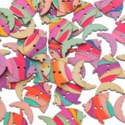 Godagoda Mixed Fish Shape 2 Holes Wooden Buttons Pack of 50pcs