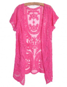 Dragonpad Womens Crochet Knitted Open Vest Boho Casual Summer Cover-Up Tops Blouse