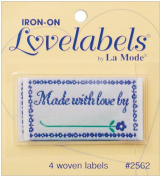 Blumenthal Lansing Iron-On Love Labels, Made with Love By, 4 Per Package
