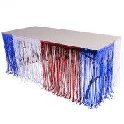 370cm X 80cm Patriotic 4th of July Metallic Foil Fringe Table Skirt
