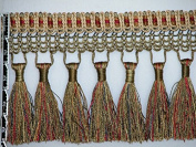 14cm Luxury Net Silky Tassel Fringe Trim Gold Olive Per Yard