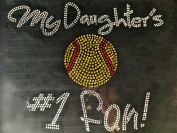 My daughter's Softball #1 fan Rhinestone Transfer Iron On Hot Fix Motif Bling Applique - DIY