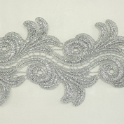 9.7cm wide Silver Metallic Rayon Embroidery Lace Trim - Bridal wedding Lace Trim wedding fabric Millinery accent motif scrapbooking crafts lace for baby headband hair accessories dress bridal accessories by Annielov trim #344