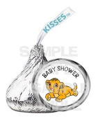 BABY SIMBA LION KING BABY SHOWER kiss labels PARTY favour