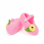 FuzzyGreen®Cute Tiny Flower with Leaf Baby Newborn Infant Girl Boy Hand Knitting Crochet Pre Walker Toddler Buckle Shoes Socks Booties(Pink)+Gift