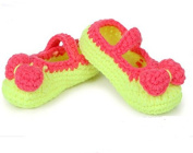FuzzyGreen®Lovely Bow Baby Newborn Infant Girl Handmade Crochet Knit Toddler Buckle Shoes Socks Booties(Red and Neon Green)+Gift