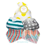 Kaydee Baby Teething Bandana Drool and Dribble Bibs with Adjustable Snaps for Boys and for Girls (Arrows/Dots) Unisex Set of 4 with Gift Bag