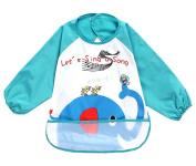 Cute Cartoon Waterproof Sleeved Bib Baby Smock Baby Bibs Elephant, 0-3 Years