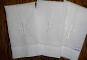 White Linen Baptism Cloth with White Cross