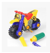 HSE Motorcycle Child Puzzle Assembly Removable Screw nut Toy Building Blocks Fight Inserted Assembled Puzzle Toy Thicken Toy Building Blocks Also As a Christmas and Birthday Gift
