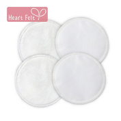 Heart Felt Organic Bamboo Nursing Pads- 2 Pair Pack. BUY Three for the Price of Two! Enjoy Soft, All-natural Bamboo Breastfeeding Pads Against Your Skin, with Absorbent Mid-layer and Water-resistant Outer to Prevent Leaks. Maximum Comfort and Confidenc ..