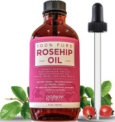Rosehip Oil - USDA Certified Organic - LARGE 120ml BOTTLE - 100% Pure Cold Pressed Rosehip Seed Oil by goPURE Naturals - Highest Quality - Therapeutic Grade