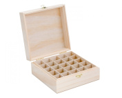 Wooden Essential Oil Box - Holds 25 (5-15 ml) Essential Oil Bottles - Perfect Essential Oils Case for Travelling and Presentations - Protects Your Essential Oils From Damaging Sunlight