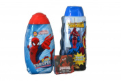 Marvel Ultimate Spiderman Bath and Shower Bundle of Three Items Includes 2 in 1 Shampoo and Conditioner, Body Wash and Washcloth