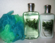 Bath & Body Works - Signature Collection - Juniper Breeze - Body Lotion 240ml - Shower Gel 300ml & Shower Sponge Gift Set Men or Women