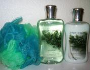 Bath & Body Works - Signature Collection - Juniper Breeze - Body Lotion 240ml - Shower Gel 300ml & Shower Sponge Gift Set Men or Women