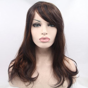 Kuafu Fashion Synthetic Lace Front Wig Long Curly Mix Brown