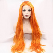 Kuafu New Orange Colour Long Straight Synthetic Lace Front Wig