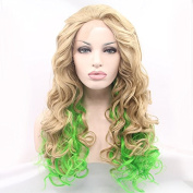 Kuafu Fashion Synthetic Lace Front Edge Wig Mixed Blonde and Green Colour